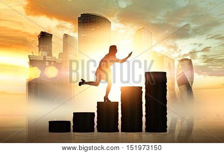 Silhouette of woman in office clothes running up the stairs made of coins l with Moscow city panorama in the backgound. Concept of financial career ladder. Mock up. Toned image. Double exposure