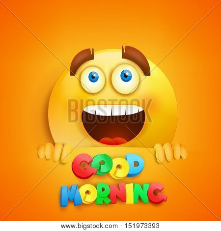 Happy smiley round face. Good morning card. Vector illustration