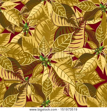 Seamless pattern with poinsettia. Christmas flower bouquet ornament in golden color. Vector illustration