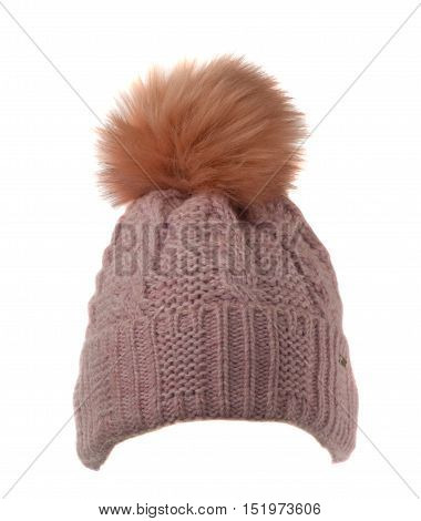 Knitted Hat Isolated On White Background .hat With Pompon  Black