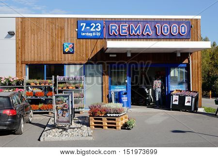 Orje, Norway - September 16, 2016: Entrance to the grocery store Rema 1000 in Orje Norway.
