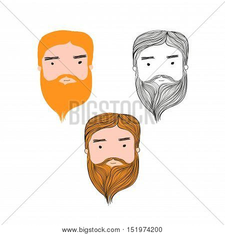 Bearded man cartoon style drawing set on white background