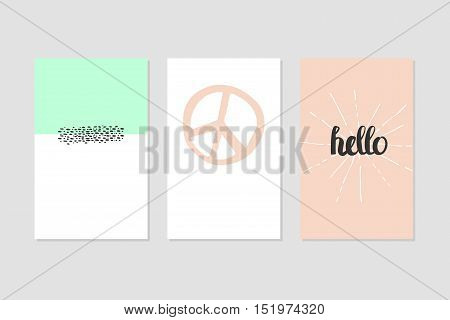 Set of Modern Creative Cards with Hand Drawn Ethnic Shapes Made with Ink. Retro Template for Placards, Posters, Flayers and Banner Designs.