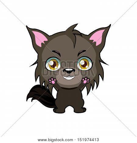 Cute cartoon big bad wolf illustration art