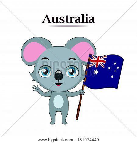 Illustration of National animal koala with Australian flag