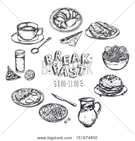 Food breakfast menu flyer with black isolated icon set with meal and cutlery vector illustration