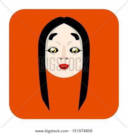 Japanese Demon Mask 1 In Flat Color