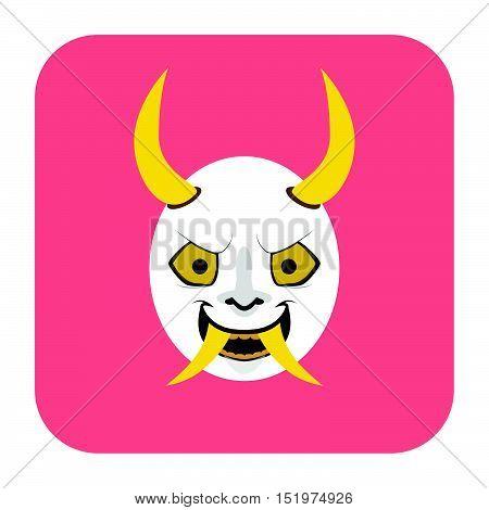 Japanese Demon Mask 2 In Flat Color