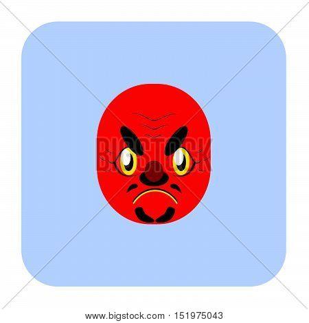 Japanese Demon Mask 3 In Flat Color