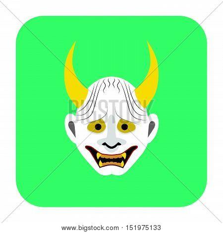 Japanese Demon Mask 4 In Flat Color
