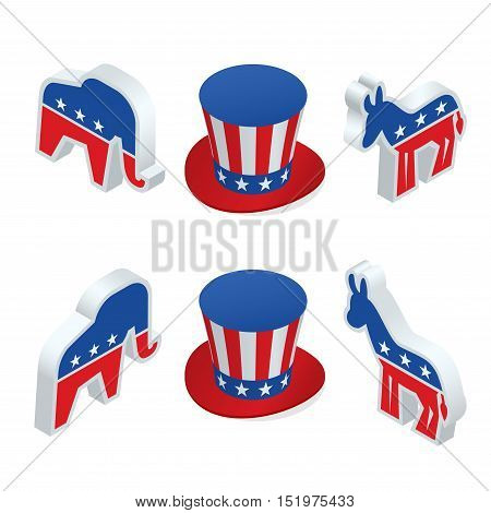 Isometric cartoon art of the democrat donkey and the republican elephant together in an over-sized hat ready to debate.