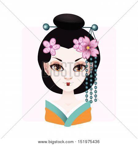 Beautiful Geisha In Green And Orange Kimono Illustration