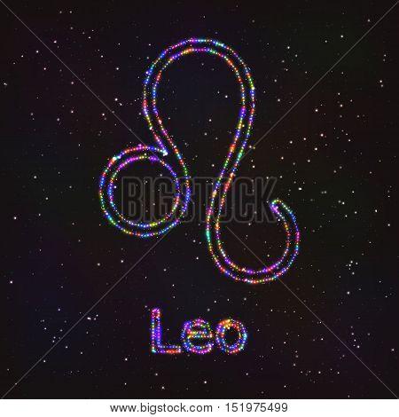Astrology Shining Symbol. Horoscope Sign. Zodiac Leo.