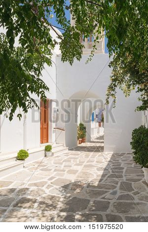 Traditional alley of cyclades at Paros island in Greece.