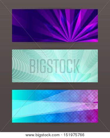 Set Horizontal Banner Headline Abstract Glow Lines03
