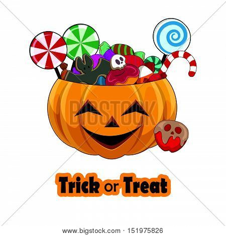 Trick Or Treat Pumpkin Full Of Sweets - Happy Face