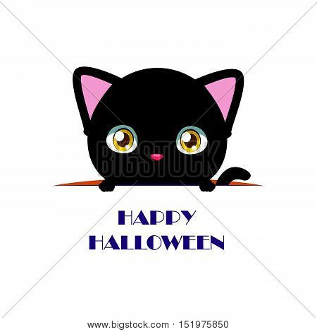 Cute Black Cat Peeking Out With Happy Halloween Text Beneath Him