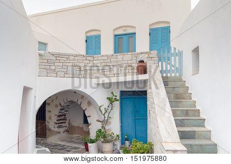 Architecture of local village Marpissa at Paros island in Greece.