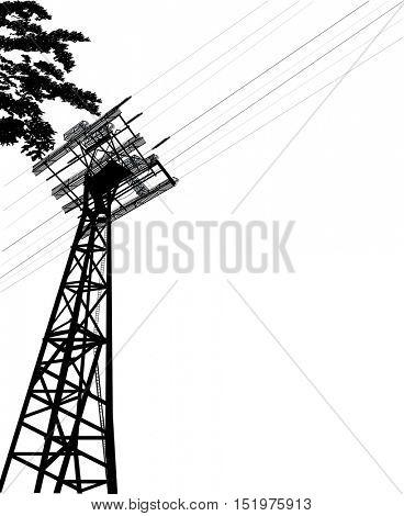 illustration with electric pylon isolated on white background
