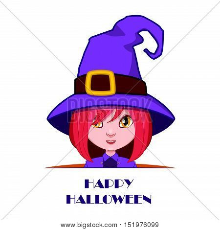 Witch Peeking Out With Happy Halloween Text Beneath Her