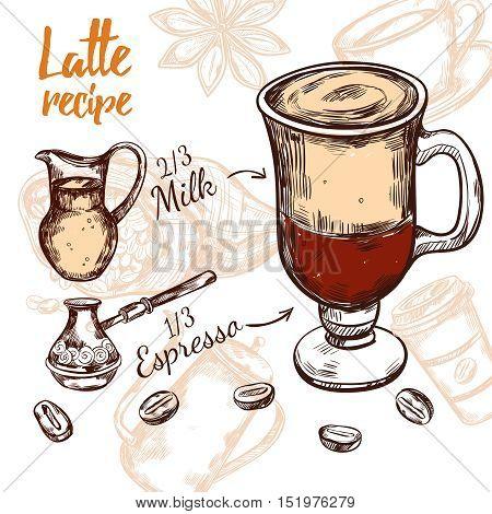 Colored sketch coffee recipe with latte recipe parts of espresso and milk vector illustration
