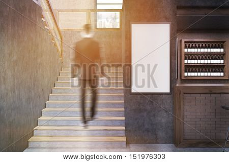 Rear view of man climbing sunlit stairs of restaurant. Concrete walls white poster near brick segment of wall. 3d rendering. Mock up