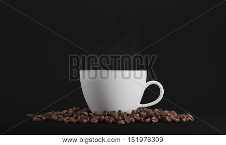 White cup of coffee surrounded by coffee beans and standing against black background. 3d rendering. Mock up