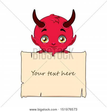 Cute little cartoon devil holding a sign