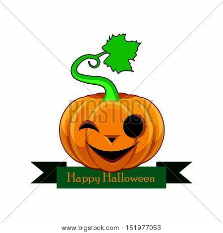 Pumpkin With Happy Halloween Banner - Joyful Face
