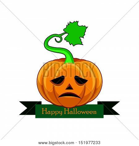 Pumpkin With Happy Halloween Banner - Sad Face