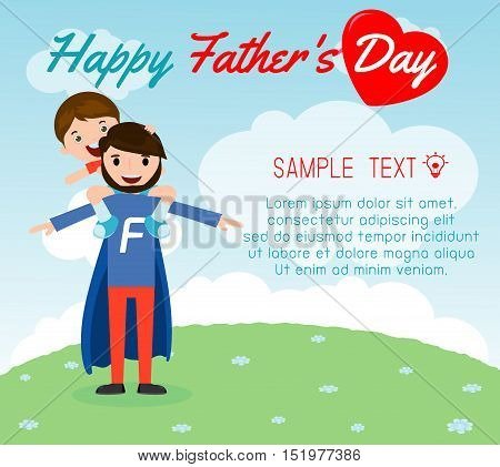 little boy sitting on his daddy's shoulder on background card of Happy fathers Day. Superhero father and son, fathers and child, happy fathers day card vector illustration