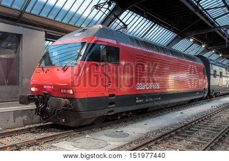 Zurich, Switzerland - 9 October, 2016: a train at Zurich main railway station. Zurich main railway station (German: Zurich Hauptbahnhof or Zurich HB) is the largest railway station in Switzerland and one of the busiest railway stations in the world.