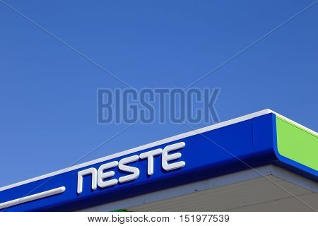 Tornio, Finland - July 20, 2016: Close-up of the roof at a Finnish Neste gasoline service station.