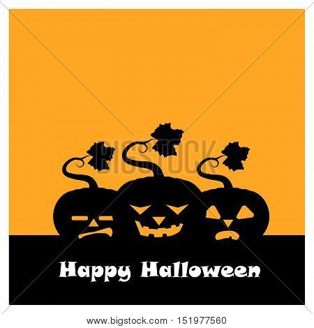 Halloween Pumpkin Group Silhouette With Happy Halloween Text
