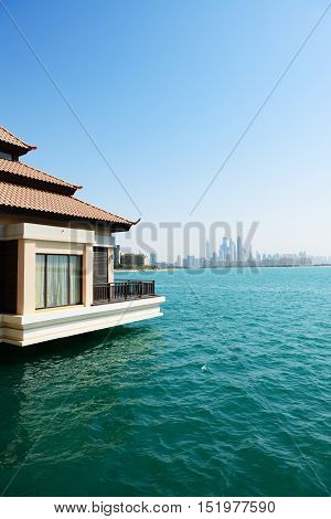 The view from luxury villa on Palm Jumeirah man-made island on city Dubai UAE