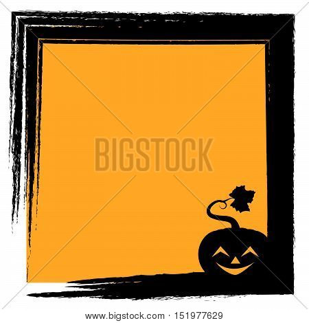 Halloween Greeting With Pumpkin Silhouette And Frame - Happy Face