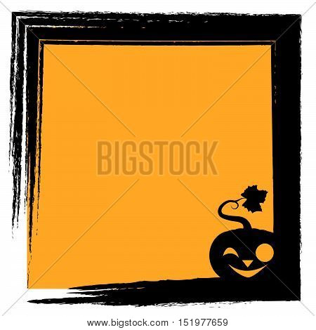 Halloween Greeting With Pumpkin Silhouette And Frame - Joyful Face