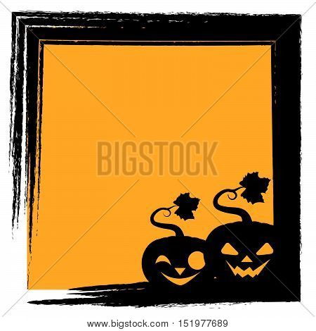 Halloween Greeting With Two Pumpkins Silhouette And Frame