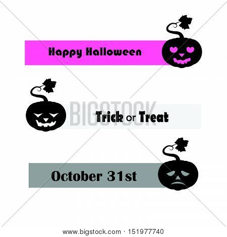 Pumpkin Banners With Different Halloween Greetings 1