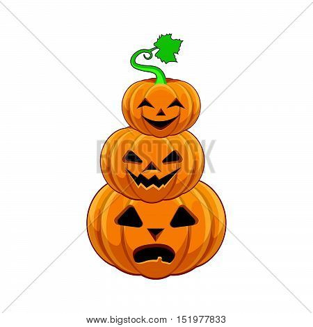 Funny cartoon Halloween pumpkin stack illustration art
