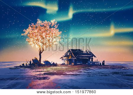 abandoned house and fantasy tree lights under Northern Lights, illustration painting