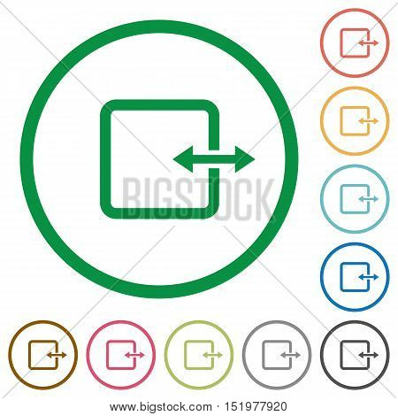 Set of adjust item width color round outlined flat icons on white background