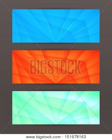 Set Horizontal Banner Headline Abstract Glow Lines05