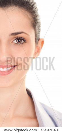 Half Face Of A Beautiful Brunette