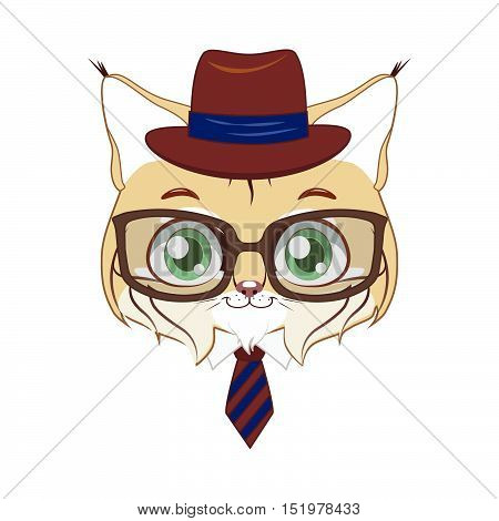 Illustration art of a stylish hipster bobcat