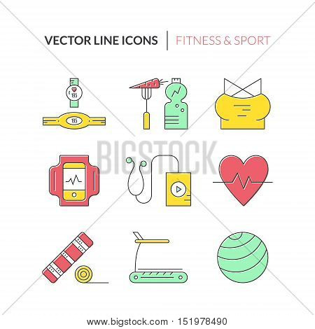 Collection of fitness icons made in vector. Gym objects. Sport design elements.