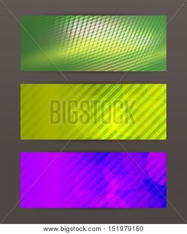 Set Horizontal Banner Headline Abstract Glow Lines07