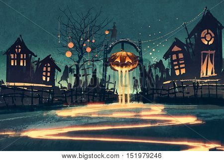 Halloween night with pumpkin and haunted houses, illustration painting