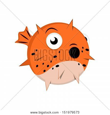 Cute stylized cartoon puffer fish illustration art