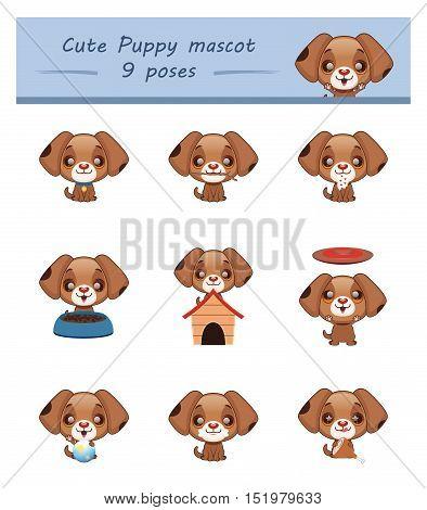 Cute puppy mascot poses set - illustration art